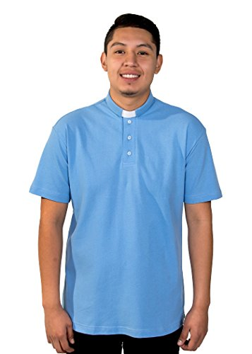 Mercy Robes Mens Clergy Polo Short Sleeves TAB Shirt (Light Blue) (6XL, Light Blue)