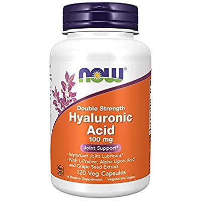 Now Foods Supplements, Hyaluronic Acid, Double Strength 100 mg, with L-Proline, Alpha Lipoic Acid and Grape Seed Extract, 120 Veg Capsules, Brown - New