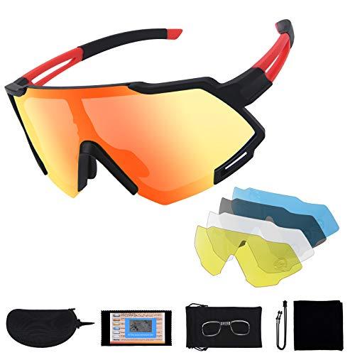 Flintronic Gafas de Sol Polarizadas, Gafas de Ciclismo con 5