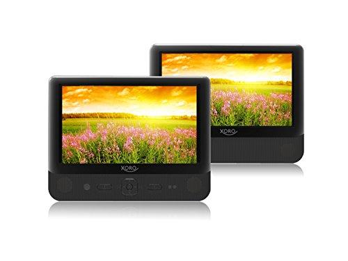 Xoro HSD 9912 Tragbarer DVD Player mit Dual 22,9 cm (9 Zoll) TFT Bildschirmen (USB 2.0, SD Kartenleser, MultiROM, Mediaplayer, Akku) schwarz