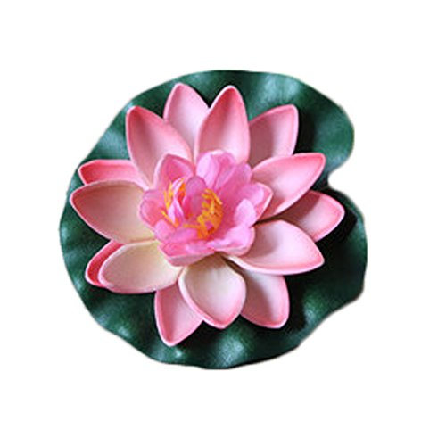 Dosige Teichpflanzen Seerose Wasserlilie Pflanze Schwimmend Lotusblüte Künstliche Lotusblume Deko Nymphaea Simulation Wasserpflanzen 10CM Rosa