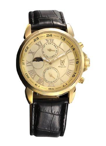 Konigswerk Mens Gold Tone Watch Black Leather Strap Roman Numerals Reloj de Oro Hombre AQ202468G