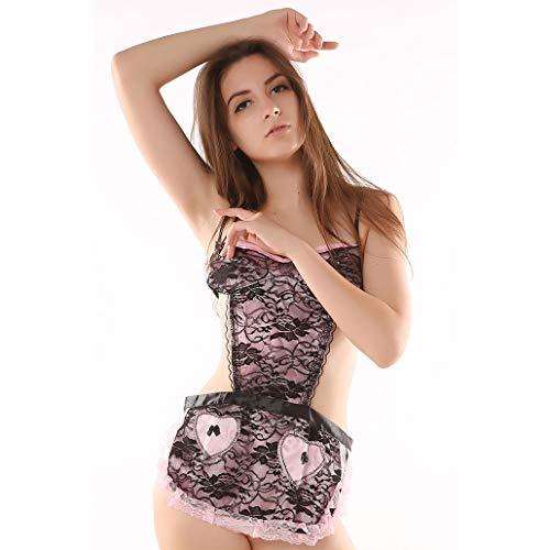 DFYAI Sexy Satin Pyjama Set Nachtwäsche Schlafanzug Nachthemd Spitze Dessous Zweiteilige mit Shorty für Damen,Schwarz,XL