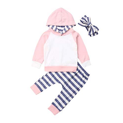 Wide.ling Baby Jongen Meisjes Herfst Lange Mouw Patchwork Hooded T-Shirt Tops Gestreepte Broek Leggings Kleding Outfit