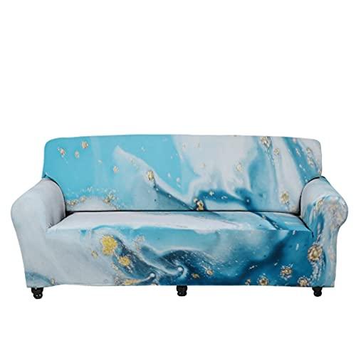 Tobgreatey Cubresofá psicodélico, mármol, antideslizante, funda de sofá para niños y mascotas, con correas elásticas, color blanco, 13 L