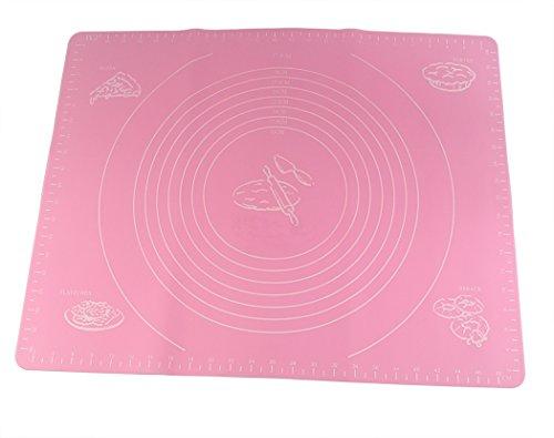 Tapis de couchage en silicone Hillento pour pizza bricolage avec matrice de pâtisserie de mesures, plaques de cuisson en silicone antiadhésives réutilisable, 40 x 50 cm, rose