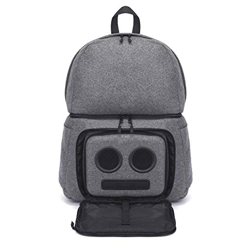Backpack Cooler with 20-Watt Bluetooth Speakers & Subwoofer for Parties/Festivals/Beach/School. Rechargeable Cooler Backpack, Works with iPhone & Android (Gray, 2021 Edition)