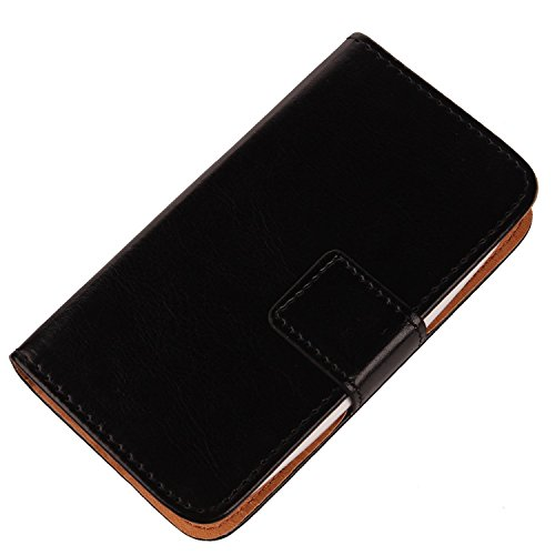 Gukas Color Flip Leather PU Wallet with Card Slots Design Cover Skin Protection Case Shell for Leagoo Elite 5 5.5' (Black)