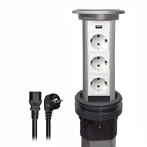 Enchufe eléctrico inteligente pop-up con certificación UL/CE, protección GFCI, toma de corriente de 13 amperios, regleta retráctil, placa de trabajo redonda, con carga USB, para cocina o conferencia