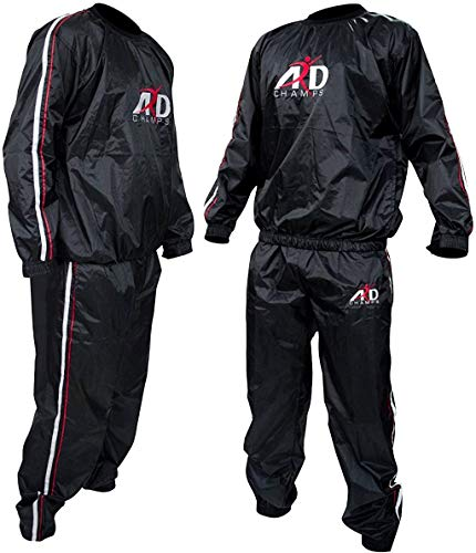 ARD-Champs Heavy Duty Sweat Suit Sauna Exercise Gym Suit Fitness Weight Loss Anti-Rip (Large)