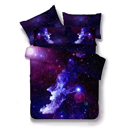 Bettbezug Set Galaxie Star Bettwäsche Set 2 Stück mit Kissen Sham (Schwarze Galaxie, 150 * 200cm)