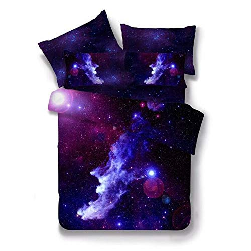 Sticker superb Duvet Cover Set 3D Galaxy Star Bedding Set 3 Pieces with Pillow Sham (Black Galaxy, Double 200 * 200cm)
