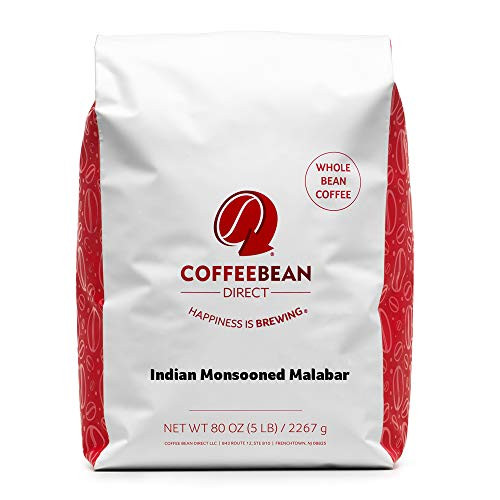 Coffee Bean Direct Indian Monsooned Malabar, Whole Bean Coffee, 5 Pound Bag