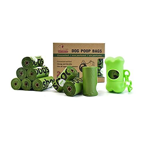 Bolsas Caca Perro,16 rollos 240 bolsas excrementos de Perro, Biodegradables Poop Bag (con 1 Dispensador )para Mascotas Domésticos,hechas de almidón de maíz, Fuertes, Resistente a Fugas, Sin Perfume