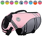 Vivaglory New Sports Style Ripstop Dog Life Jacket with Superior Buoyancy & Rescue Handle, Sakura Pink, M