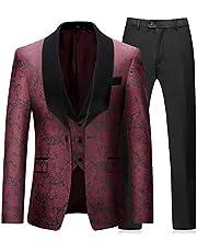 سترة رجالية من Boyland مكونة من 3 قطع من Tuxedos بمقاس ملائم لشكل الجسم بتصميم عتيق مزين بالزهور