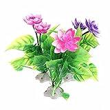 LEPSJGC 3 Piezas de Loto acuático de plástico Plantas Artificiales Flor pecera decoración de Acuario Adornos Planta Rosa púrpura