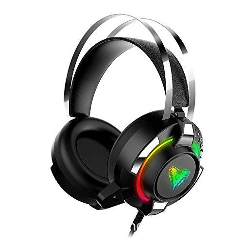 WuMei101 Headsette Filaire Stéréo Jeu vidéo Jeux de Jeu Casque Pliant en Ligne (Color : Black)