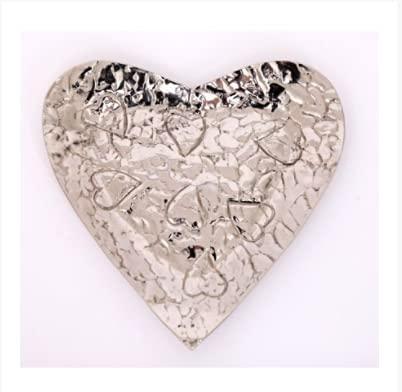 JJA Silver Heart Trinket Dish, Beautiful Jewelry Tray for Women, Delicate Tealight Holder, 21.5cm x 22cm