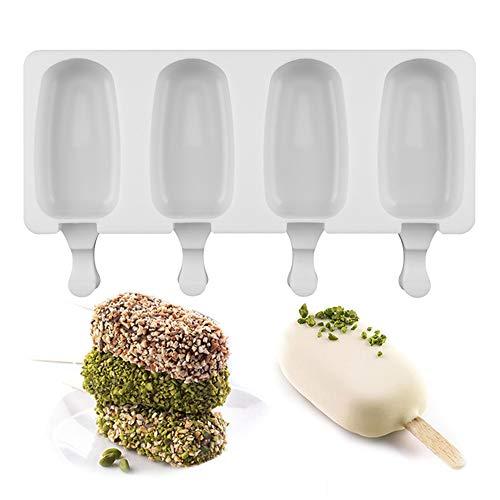DIY 4 Gaatjes Siliconen vriezer Ice Cream Mold, candy bar maken Tool Juice Popsicle Molds Kinderen Pop Lollie Tray Ice Cube maker voor de keuken
