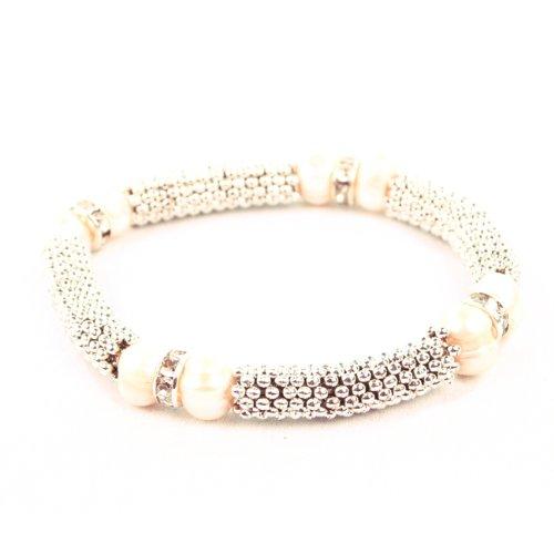 Bg3134 – Chaîne en métal Bracelet à maillons avec de véritables perles d'eau douce Blanc ivoire