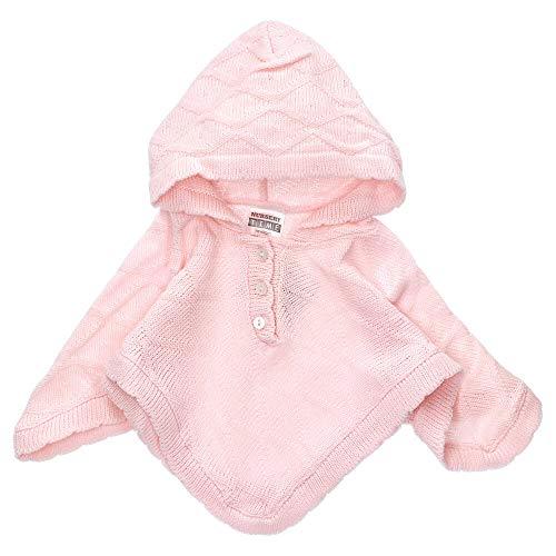 Nursery Time Baby Mädchen Poncho | Farbe: rosa | Baby Strick Poncho mit Kapuze für Neugeborene & Kleinkinder | Größe: 0-3 Monate (62)
