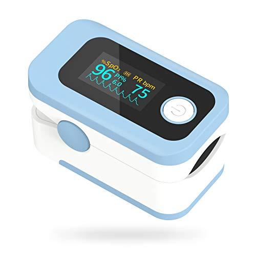 Wawech 4 in 1 Saturimetro Professionale Pulsossimetro da dito con Display multidirezionale Ossimetro per Saturazione di Ossigeno(SpO2) Frequenza Del Polso(PR) Indice di Perfusione(PI)