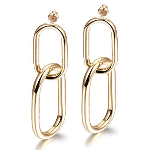 WISTIC Damen Ohrringe Gold plattiert Edelstahl Geometrische Damen Ohrstecker weiblich mit Rosegold Gold Geschenk Nickelfrei (2-Gold, 14 Karat (585) Bicolor)