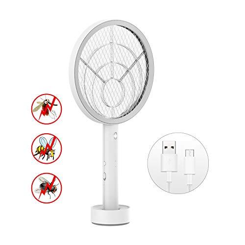 AUZKIN Elektrische Fliegenklatsche Insektenvernichter Insekten Mörder USB wiederaufladbar mit LED Beleuchtung,3-Schicht Mesh Schutz
