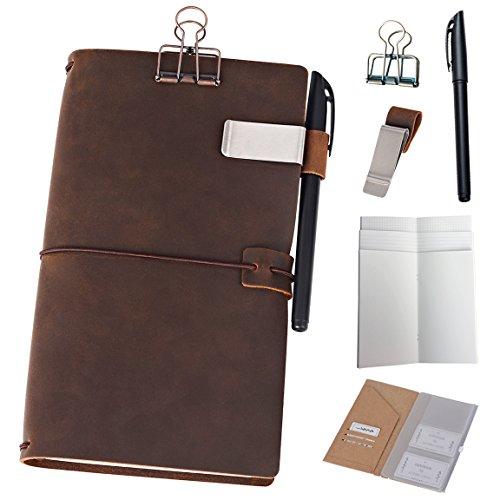 Nachfüllbar Leder Tagebuch Reisende Notebook - 11 x 21cm Tagebuch mit 5 Einsätze + Stiftehalter und Binder Clip, Standard Größe, braun