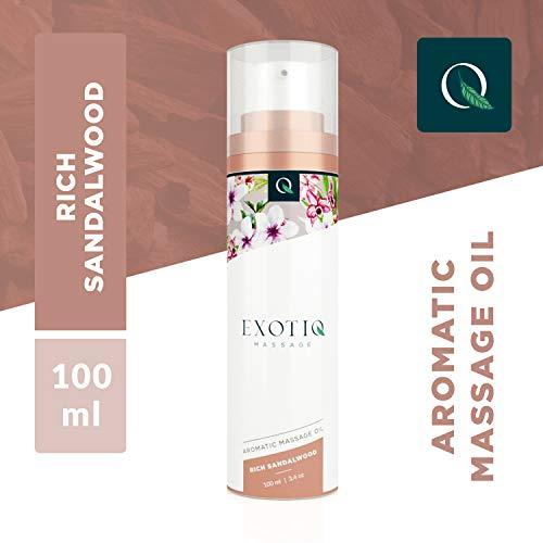 Exotiq Aromatisches Massageöl Reiches Sandelholz (100 ml) - Ideal für eine Sinnliche Massage - Erhebender Effekt auf die Emotionen; Sandelholz-Duft, Würzig, Handliche Dosierpumpe