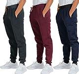 3 Pack: Boys Girls Youth Teen Active Athletic Basic Soft Fleece Jogger Sweatpants-Set 4,XL(18/20)