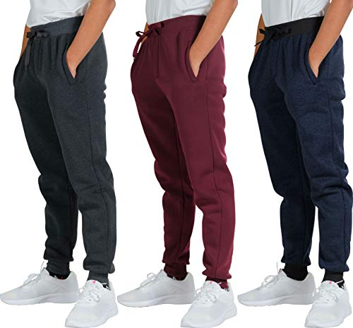 3 Pack Mens Joggers Tech Fleece Active Sports Athletic Training Soccer Track Gym Running Slim Fit Tapered Casual Jogger French Terry Quick Dry Fit Sweatpants Pockets Elastic Bottom,Set 4,L