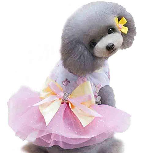 XXDYF Vestido para Perro Princesa Tutú Lentejuelas Flores Verano Arco Boda Cumpleaños Ropa, Indumentaria para Mascotas,Rosado,XS