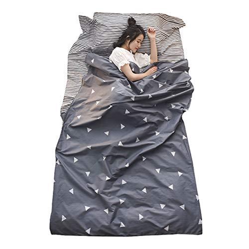 TRIWONDER Baumwolle Hüttenschlafsack, Schlafsack Inlett, eicht & kompakt, Schlafsack Inlay, Sommerschlafsack, Reiseschlafsack für Reisen (Grau, S - 80x230cm)