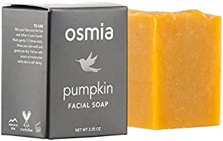 Osmia Pumpkin Facial Soap - Gentle Exfoliating Organic Pumpkin & Honey Cleansing Bar for Face, Perfect for Normal, Combination, Mature & Dry Skin (2.25 oz)