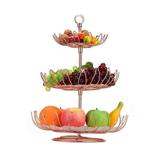 QTQHOME Alliage Fruit Basket 3 Layer Gâteau Stand Grande Capacité Amovible Assiette De Bonbons Plateau Snack Plateau Art Déco 40 32cm Plat de Fruits (Couleur:Or Local)