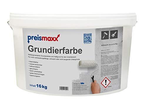 preismaxx Grundierfarbe 16kg, weiß pigmentiert, Grundiermittel und Haftgrund für den Innenbereich