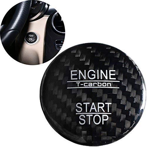 FancyAuto Motor Taste Dekorative Abdeckung Kohlefaser Dekoration von Start Stop Druckschalter Aufkleber für Mercedes-Benz NewA / B / C Klasse GLC GLE (Schwarz)