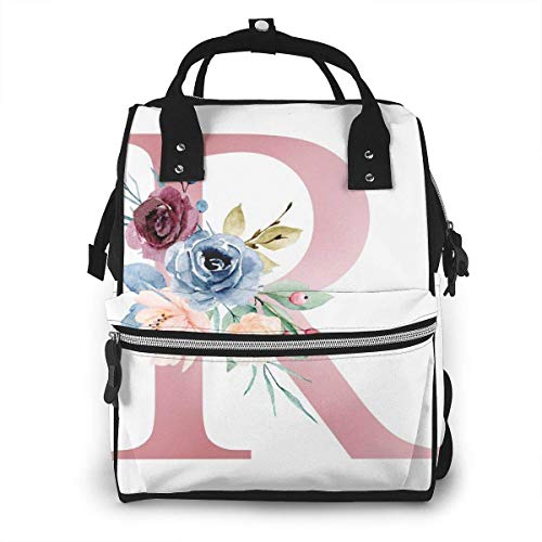 UUwant Sac à Dos à Couches pour Maman Diaper Bag,Versatile Stylish and Durable, Suitable for Mom and Dad, Letter R with Watercolor Flowers and Leaf