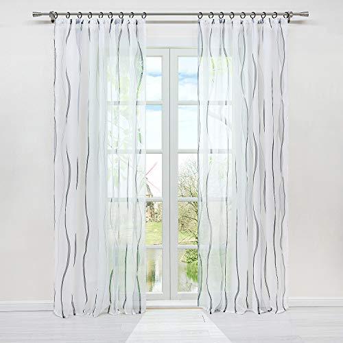 HongYa 1er-Pack Voile Gardine Transparenter Vorhang mit Kräuselband Wellen Druck H/B 225/140 cm Weiß Silber