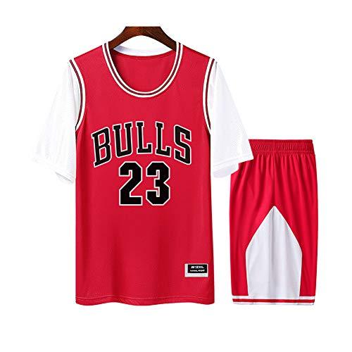 Jordan Bulls #23 Rot Herren und Damen Atmungsaktives Basketball-Trikot Rundhalsausschnitt Fake Zweiteiliges Kurzarm-T-Shirt 2-teiliges Set (S-4XL) 3XL weiß