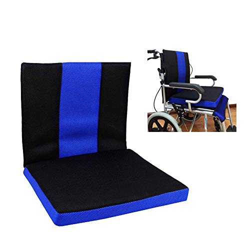 Wheelchair Cushion Anti-Decubitus Honeycomb Cushion Breathable Comfort Back Oxford Cloth Material Wheelchair Cushion X (Color : Blue)