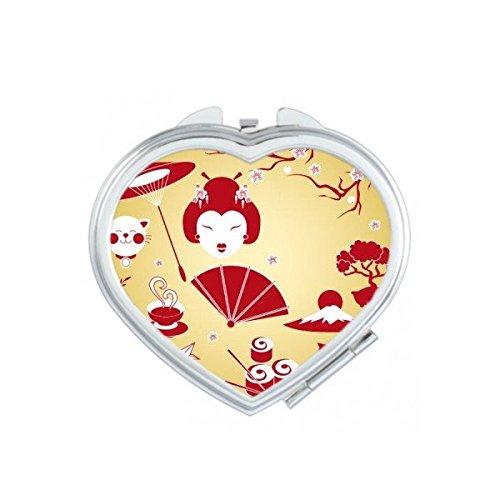 Japan Cultuur Rood Geel Wit Beker Sushi eetstokjes Geisha Lucky Kat Boogboog Karper Paraplu Bamboe Sakura Illustratie Patroon Hart Compact Make-up Pocket Spiegel Draagbare Leuke Kleine Hand Spiegels
