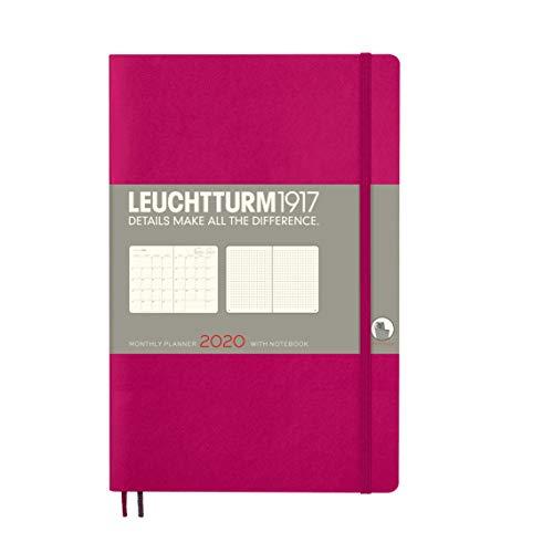 LEUCHTTURM1917 360048 Monatsplaner mit Notizbuch Softcover Paperback (B6+) 2020, Beere, Englisch