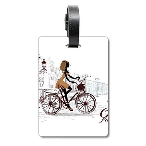 Fahrrad Lady France Illustration Muster Cruise Koffer Bag Tag Tourister Identifikationsetikett