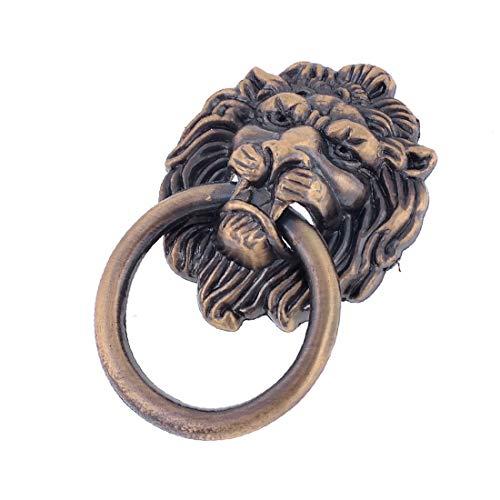 X-DREE Vintage Style Copper Tone Metal Ring Lion Head Shape Door Handle(Estilo vintage, tono de cobre, anillo de metal, cabeza de león, forma, manija de puerta