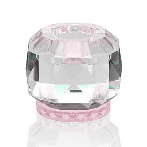 Reflections Copenhagen - Texas - Teelichtständer, Kerzenleuchter, Kerzenständer - Kristallglas - Klar, Rose - (LxBxH): 9 x 9 x 7,8 cm