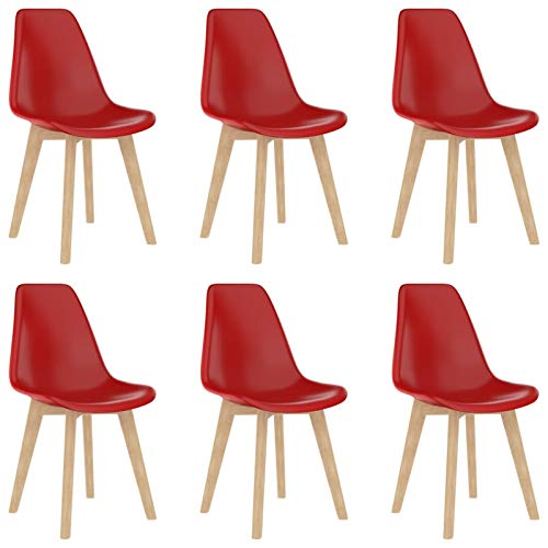 Galapara Set of 6 Esszimmerstühle, Chairs, Dining Chairs, Living Room Chair, Office Chair Rot Kunststoff