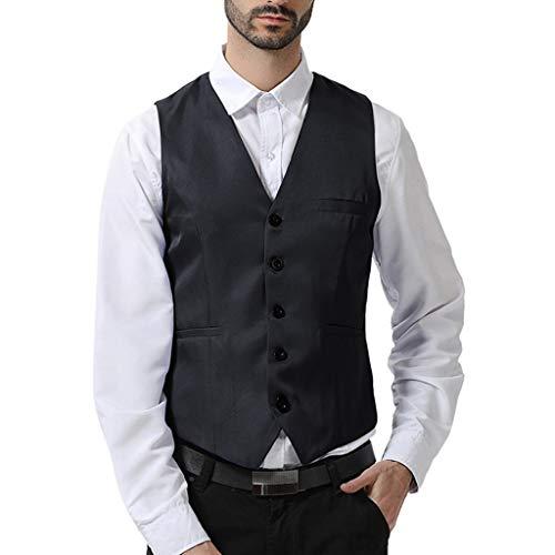 Yowablo Anzug Weste Herren Slim Fit Anzugweste V- Ausschnitt Elegant Retro Business Hochzeit Freizeit Tweed Weste (XXL,12Schwarz)